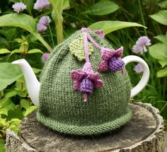 Green Hand Knitted Tea Cosy with Fuchsia Flowers £18.00
