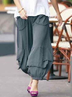 Oh My Gauze Cotton Lagenlook Guchi Pants Harem Layered Wide M L XL 1x Graphite   eBay