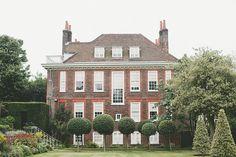 friday in hampstead. by hjartesmil on Flickr. brick estate, villa, topiary trees, formal garden