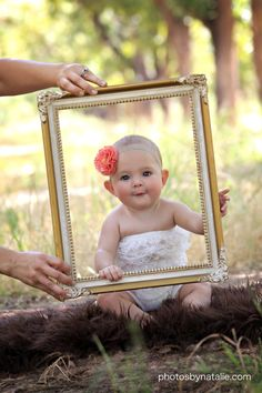 Love this photo idea w/ the pic frame...so adorable!