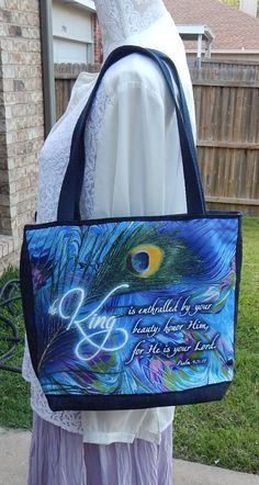 Purple and Denim Handmade Tote Psalm 45 11 by CrossMyHeartBags Bible Bag 1ae69e04e94e4