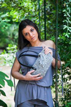 Handmade crocheted mini tote bag in grey
