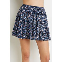 Forever 21 Women's  Ditsy Floral Skater Skirt ($18) ❤ liked on Polyvore featuring skirts, pleated skater skirt, print skirt, full length skirt, elastic waist skirt and pleated circle skirt