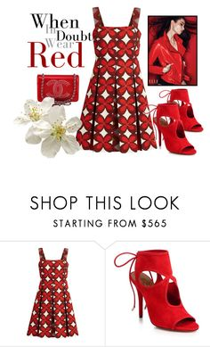 """""""RED"""" by aquadecorator ❤ liked on Polyvore featuring Valentino, Aquazzura and Chanel"""
