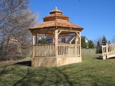 Custom cedar gazebo by Flamborough Patio Furniture - Hamilton, Ontario Hamilton Ontario, Gazebo, Outdoor Structures, Patio, Furniture, Kiosk, Yard, Terrace, Home Furnishings