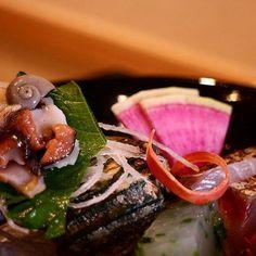 Sashimi from Ise.Rolled liver of turban shell and Spanish mackerel and red daikon radish. #isesueyoshi #instafood #food #foodporn #sashimi #seafood #fish #rawfish #japanesefood #japanesecuisine #japan #kaiseki by isesueyoshi