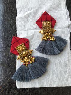 36 boho jewelery Visit the post for more. Diy Fabric Jewellery, Fabric Earrings, Fancy Jewellery, Jewelry Design Earrings, Thread Jewellery, Tassel Jewelry, Textile Jewelry, Embroidery Jewelry, Diy Earrings