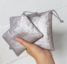 Medium silver oilcloth zipper pouch  oilcloth makeup bag