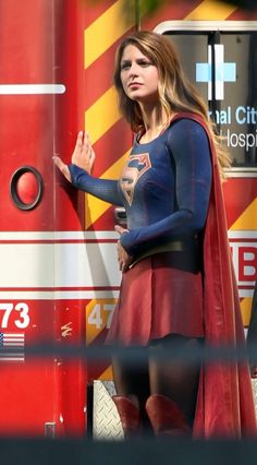 Melissa Benoist – On the set of 'Supergirl' in Los Angeles