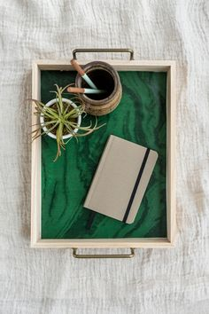 DIY Wood Tray With Green Marble Wallpaper