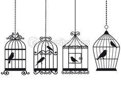 Vintage birdcages with birds by beaubelle - Imagen vectorial