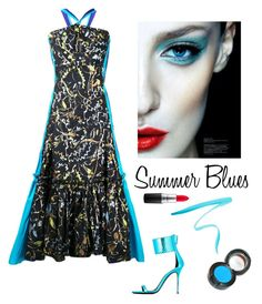 """""""Summer Blues"""" by kotnourka ❤ liked on Polyvore featuring Peter Pilotto, Giuseppe Zanotti, By Terry and MAC Cosmetics"""
