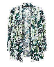 Kimono blanc imprimé feuilles de palmier | New Look