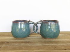 Stoneware Ceramic Pottery Mugs  Sea Mist  Set of by dorothydomingo