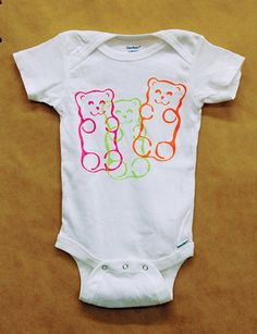 Gummy Bear Onesie 12 months  hand pulled by Ink Lounge Creative screen print tshirt