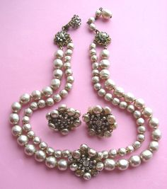 Beautiful Signed Miriam HASKELL Baroque Faux Pearls Two Strand Necklace and Earrings!