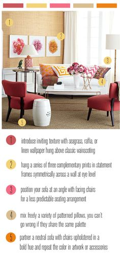pink and orange living room color scheme