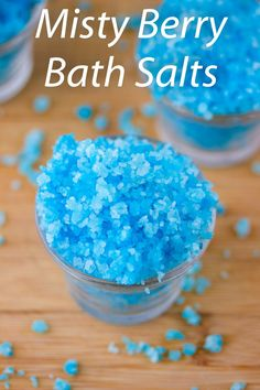 Easy bath salts that turn your water blue as your soaking in a tub full of blue raspberries