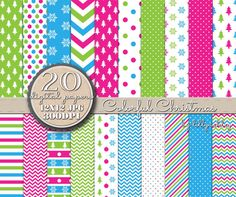 Christmas Digital Paper Pack of 20 Colorful por LillyAshley en Etsy