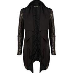 Black leather look sleeve waterfall jacket $100.00