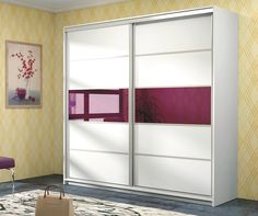 Santana Wardrobe Product Dimensions: Width: 226 cm Height: 220 cm Depth: 64 cm Available colour: white + purple berry Mdf Furniture, Royal Furniture, Kids Bedroom Furniture, White Sliding Door Wardrobe, Mirrored Wardrobe Doors, Bedroom Door Design, Wardrobe Design Bedroom, Bedroom Decor, Decoration Home