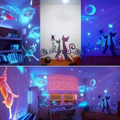 30 Cheap and Easy Home Decor Hacks Are Borderline Genius - Glow in the dark wall paint Home Decor Hacks, Easy Home Decor, Decor Ideas, Awesome Bedrooms, Cool Rooms, Dark Bedroom Walls, Dark Walls, Dark Rooms, Cat Room