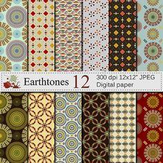 Earthtones Digital Paper Set Abstract Digital by VRDigitalDesign