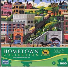 """Wysocki Hometown """"Angel's Flight"""" 1000 piece 19"""" x 27"""" puzzle Mega 2010 in Toys & Hobbies, Puzzles, Contemporary Puzzles 