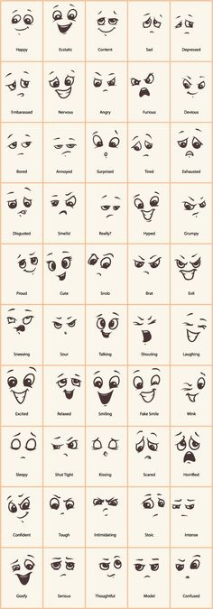 Hand drawn funny expressions vector icons - GooLoc