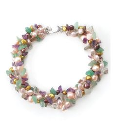 Take a look at this Pearl, Amethyst, Aventurine & Quartz Multi-Strand Bracelet by Orchria on #zulily today!