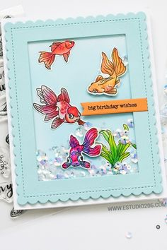 Card Making Inspiration, Making Ideas, Pet Goldfish, Nautical Cards, Card Sentiments, Shaker Cards, Get Well Cards, Animal Cards, Scrapbook Cards