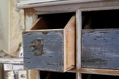 Baltic pine and Kauri drawers with original paint. Constructed using up-cycled sash window. Raw Furniture, Rustic Furniture, Furniture Making, Storage Drawers, Farmhouse Table, Farmhouse Furniture, Storage Crates