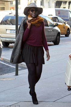 A-list attire: Lupita Nyong'o, 32, looked ever the fashionista as she arrived at New York'...