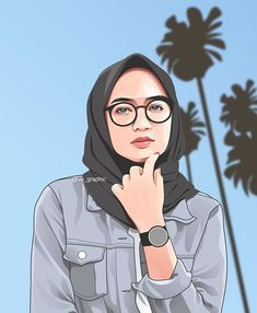 Fiverr freelancer will provide Portraits & Caricatures services and draw realistic , vector portrait illustration from your photo a birthday gift including Figures within 5 days Cartoon Photo App, Girl Cartoon, Cartoon Art, Hijab Outfit, Hijab Drawing, Line Art Vector, Islamic Cartoon, Caricature, Anime Muslim