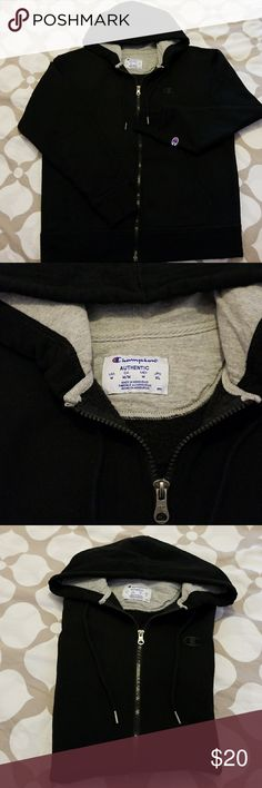 Champion authentic hooded sweater Champion  authentic  hooded front zipper sweater fleece in the inside great for the fall weather practically new used once excellent  condition size medium unisex Champion Sweaters
