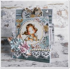 Suzi Mac Creations : Heavenly Tilda #cards #crafts #paperflowers #magnolia #tilda #mintaypapers #lace #colouring #distressink #handmade #birthday 25 November, 21st October, Magnolia Stamps, Handmade Birthday Cards, Christmas In July, Distress Ink, Card Tags, Altered Art