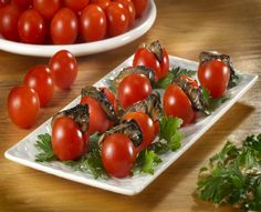 Cherry Tomatoes with Smoked Oysters