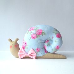 Snail toy, plush Snail doll, animal toy in baby blue / pink roses shell and a bow Toy and nursery decor Cute baby toy. Perfect gift