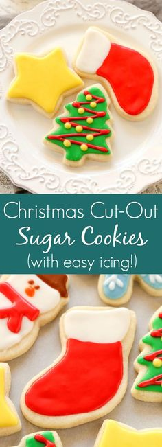 Super soft cut-out sugar cookies decorated with an easy icing. These Christmas C… Super soft cut-out sugar cookies decorated with an easy icing. These Christmas Cut-Out Sugar Cookies are so fun to decorate and perfect for the holidays! Easy Sugar Cookies, Christmas Sugar Cookies, Christmas Snacks, Christmas Cooking, Sugar Cookies Recipe, Cookies Soft, Christmas Cookies Cutouts, Easy Christmas Cookies Decorating, Sugar Cookies To Decorate