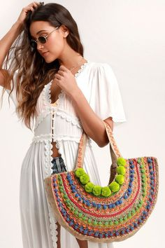 The Lulus Lago Beige Woven Pompom Tote is always a good time! Beige woven jute shapes this fun, crescent-shaped tote featuring multicolored pompoms. Feel the breeze in the Lulus Bay Breeze White Short Sleeve Swim Cover-Up! Intricate crochet lace trims the Crochet Motifs, Bead Crochet, Crochet Lace, Crochet Patterns, Crochet Handbags, Crochet Purses, Neon Bag, Spring Bags, Boho Bags