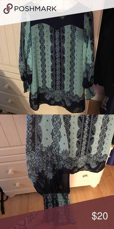 Xhilaration dress Turquoise and navy blue dress with sheer long sleeves Xhilaration Dresses Long Sleeve
