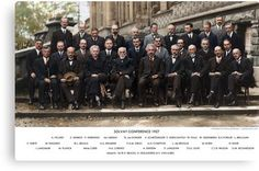 Colorized - Solvay Conference 1927. Einstein, Curie, Bohr and more. Canvas Print