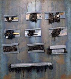 Jannis Kounellis UNTITLED, 2005 Iron plate with hair, knife, razor blades, chisel, ax, pincers and lead 78 3/4 x 70 7/8 x 5 7/8 inches 200 x 180 x 15 centimeters