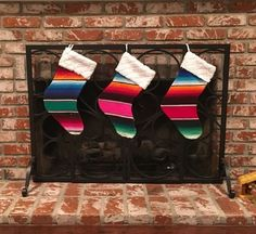 Mexican Serape Christmas Stocking- Made from authentic Mexican blanket Bohemian Christmas, Western Christmas, Vintage Christmas, Christmas Holidays, Christmas Crafts, Christmas Ornaments, Christmas Ideas, Holiday Ideas, Holiday Decor