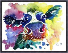 Cow watercolor painting print Cow art animal art by ARTTARATET