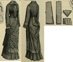 Mody Paryzkie 1880.: Summer walking dress, patterns to the drapery, triangle bodice peplums and back pleated peplum.