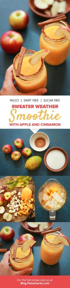 Sweater Weather Smoothie with Apple and Cinnamon: The best of fall in a mason jar. Get the full recipe here: http://paleo.co/applecinnasmoothie