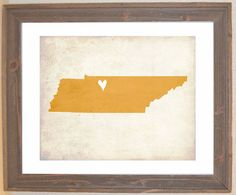 with the heart in the southeast corner of course:) Tennessee Love State Art Print by mereleemade on Etsy, $16.00