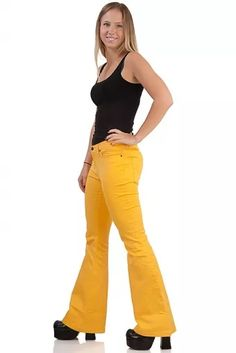 Yellow stretch flares Comycom Joy low-waist cut