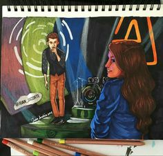 Desenho lindo do Matteo cantando para a Luna desenho de Juan da corte